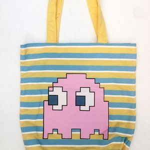 Pac-Man Canvas Tote Bag with Pinky the Ghost